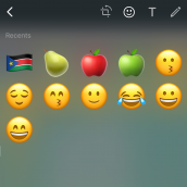 Recent emojis and search engine for iOS