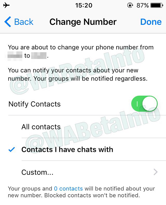 WhatsApp is rolling out the new change number feature! | WABetaInfo