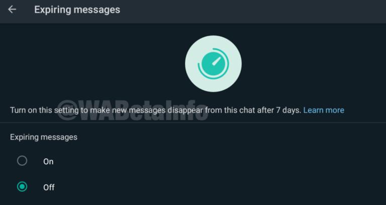 expiring message whatsapp beta