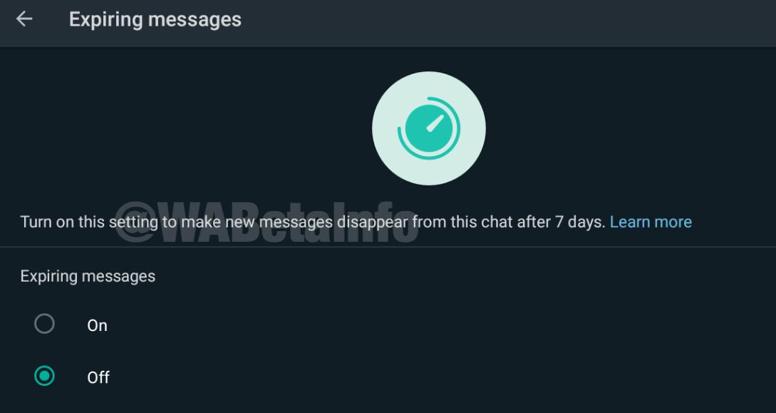 Fitur Expiring Messages  dapat menhapus pesan WhatsApp otomatis.