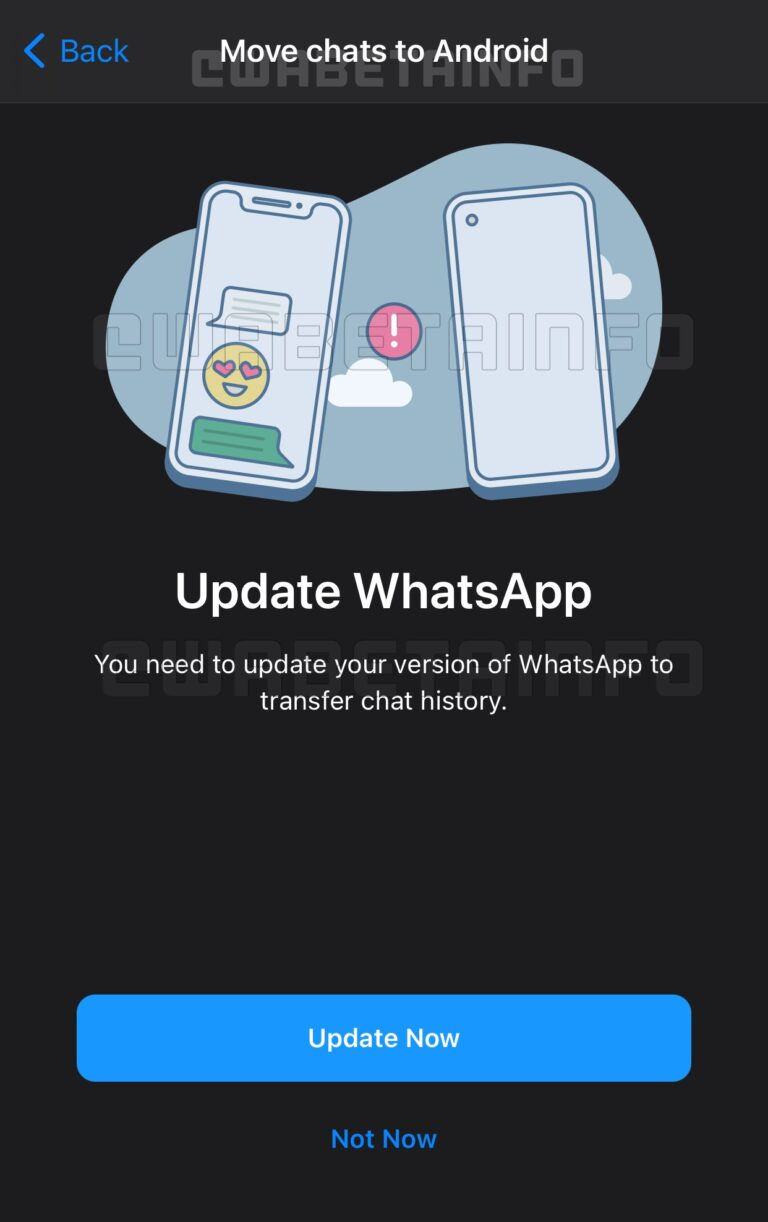 WhatsApp for iOS move chat to Android